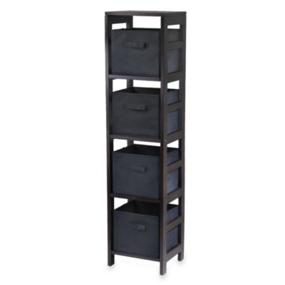Capri 4-Tier Storage Shelf with 4 Foldable Baskets in Black
