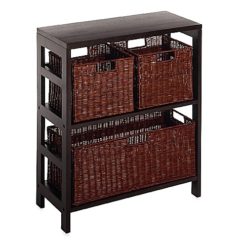 Leo 2-Tier Shelf with Wire Frame Baskets