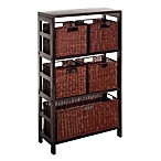 Leo 3-Tier Shelf with 5 Wire Frame Baskets