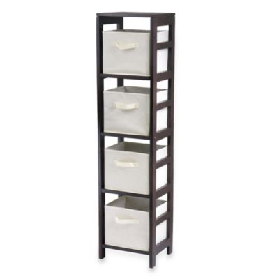 Capri 4-Tier Shelf with 4 Foldable Baskets in Beige