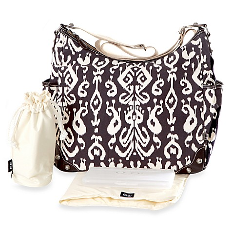 OiOi® Brown Ikat Hobo Diaper Bag