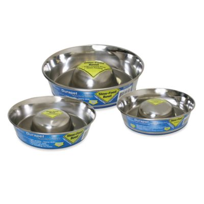 Durapet® Slow Feed Large Stainless Steel Dog Bowl