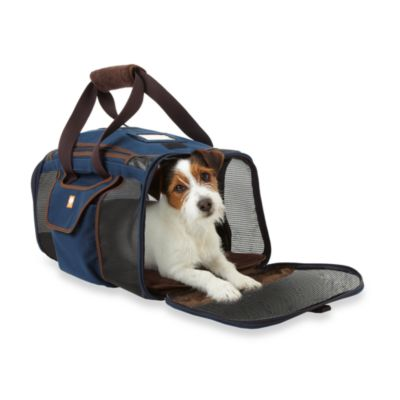 Microdry® Ultimate Luxury Memory Foam Pet Carrier in Navy/Dark Chocolate