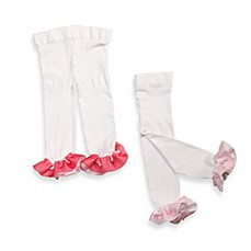 BonBon Cupcakes™ Ruffled Leggings in White with Light Pink/Dark Pink