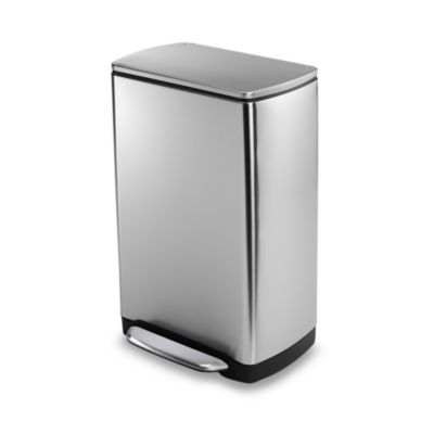 simplehuman® Brushed Stainless Steel Fingerprint-Proof Rectangular 38-Liter Wide-Step Trash Can