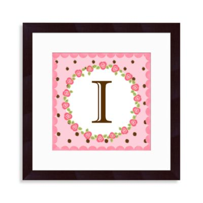 "Monogram Rose Initial ""I"" Wall Art"