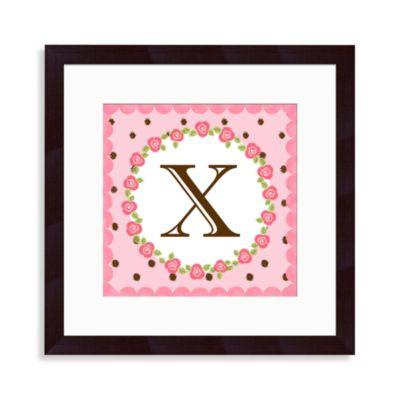 """Monogram Rose Initial """"X"""" Wall Art"""