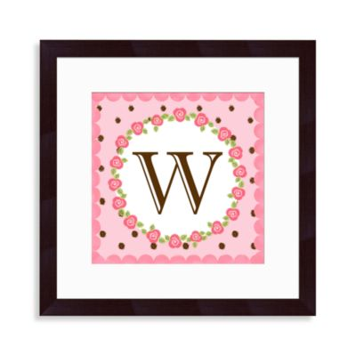 "Monogram Rose Initial ""W"" Wall Art"