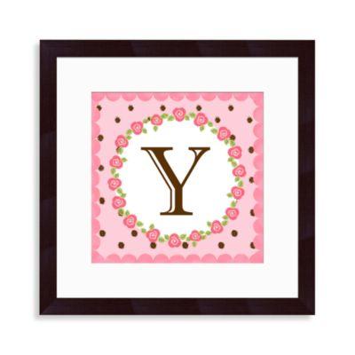 """Monogram Rose Initial """"Y"""" Wall Art"""