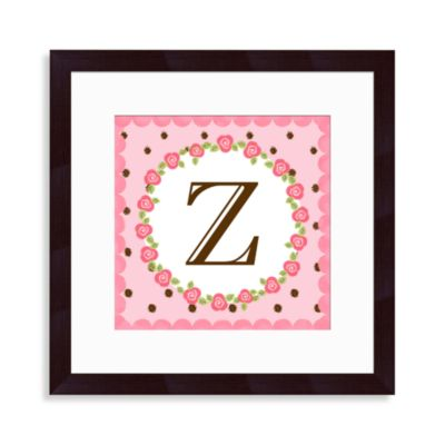 "Monogram Letter ""Z"" Wall Art in Rose"