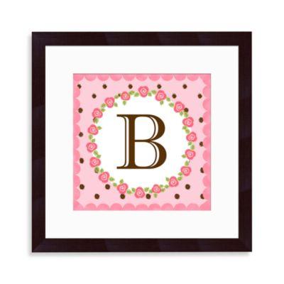 """Monogram Rose Initial """"B"""" Wall Art"""