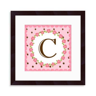 """Monogram Rose Initial """"C"""" Wall Art"""