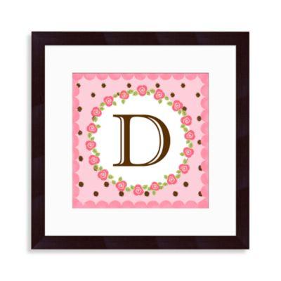 """Monogram Rose Initial """"D"""" Wall Art"""