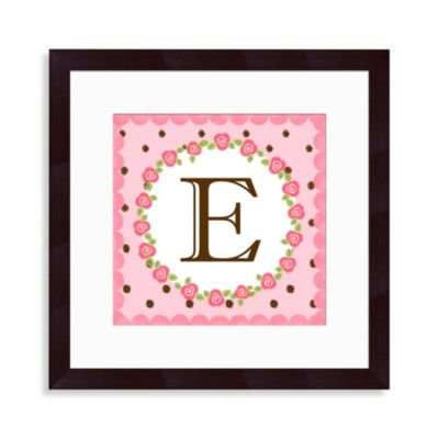 "Monogram Rose Initial ""E"" Wall Art"
