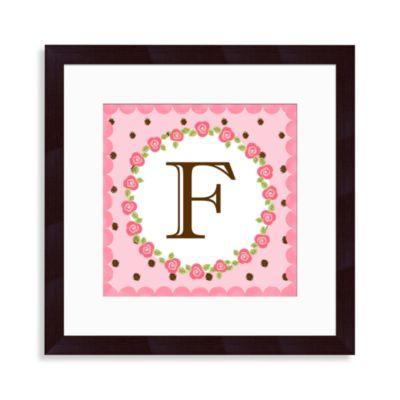 """Monogram Rose Initial """"F"""" Wall Art"""