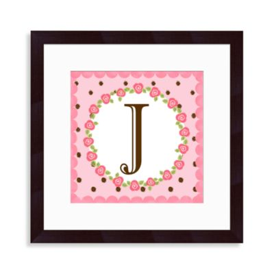 """Monogram Rose Initial """"J"""" Wall Art"""