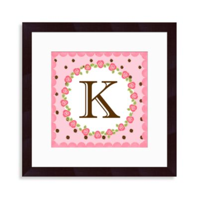 "Monogram Rose Initial ""K"" Wall Art"