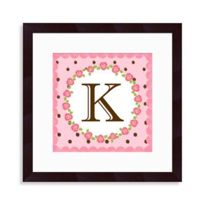 """Monogram Rose Initial """"K"""" Wall Art"""