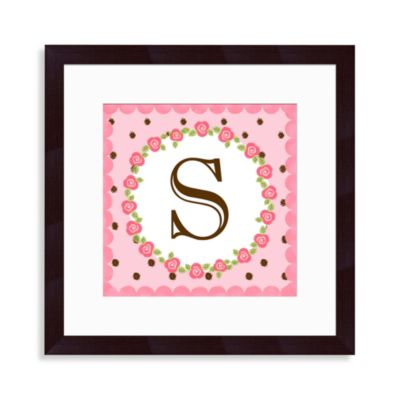 "Monogram Rose Initial ""S"" Wall Art"