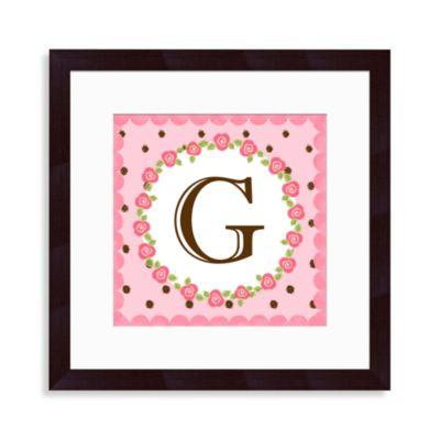 """Monogram Rose Initial """"G"""" Wall Art"""