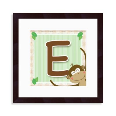 "Monogram Monkey Initial ""E"" Wall Art"