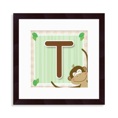 "Monogram Monkey Initial ""T"" Wall Art"