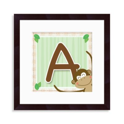 "Monogram Monkey Initial ""A""Wall Art"