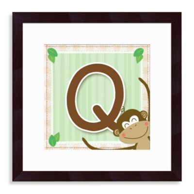 "Monogram Monkey Initial ""Q"" Wall Art"