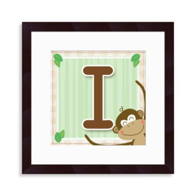 "Monogram Monkey Initial ""I"" Wall Art"