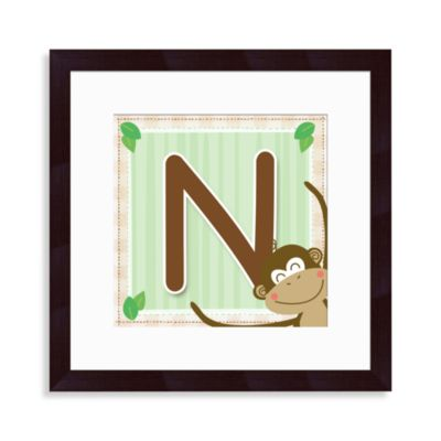 "Monogram Monkey Initial ""N"" Wall Art"