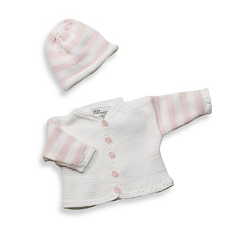 Cardigan and Hat Set Size Extra Small in White/Pink