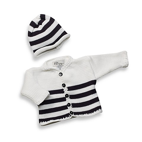 White/Navy Stripe Cardigan and Hat Set