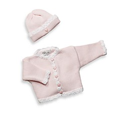 Pink/White Cardigan and Hat Set