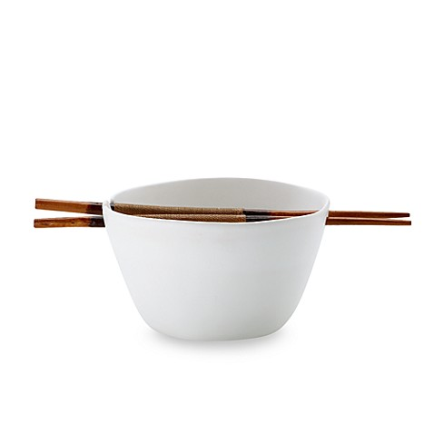 Donna Karan Lenox® Porcelain Touch 6 1/3-Inch Medium Noodle Bowl with Chopsticks (3-Piece Set)