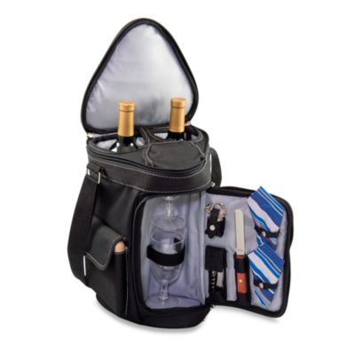 Picnic Time® Meritage Deluxe Insulated Wine and Cheese Tote in Black & Silver