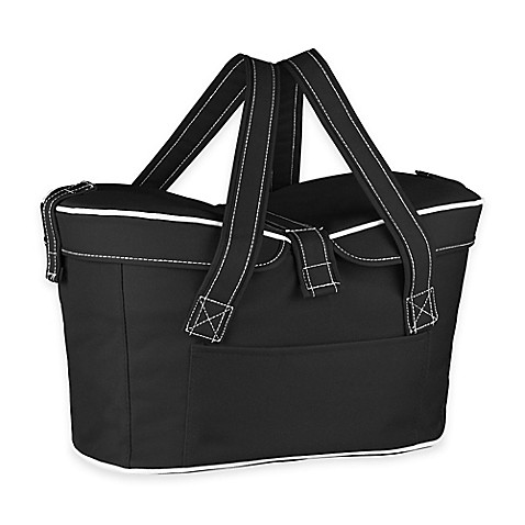 Picnic Time® Mercado Insulated Picnic Basket Tote in Black