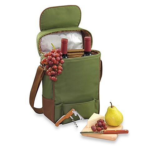 Picnic Time® Duet Insulated Wine and Cheese Tote in Pine Green