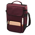 Picnic Time® Duet Insulated Wine and Cheese Tote in Burgundy