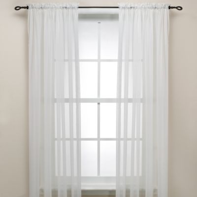 Eggshell Rod Pocket Sheer 63-Inch Window Curtain Panel