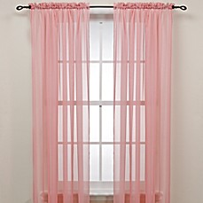 Pink Rod Pocket Sheer Window Curtain Panel