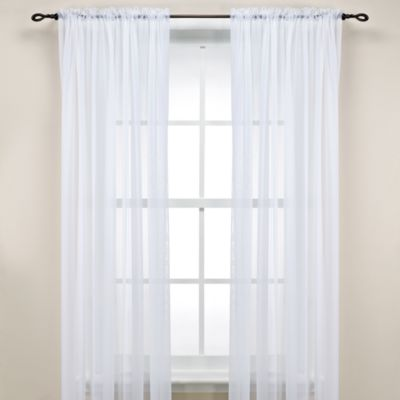 White Rod Pocket Sheer 63-Inch Window Panel