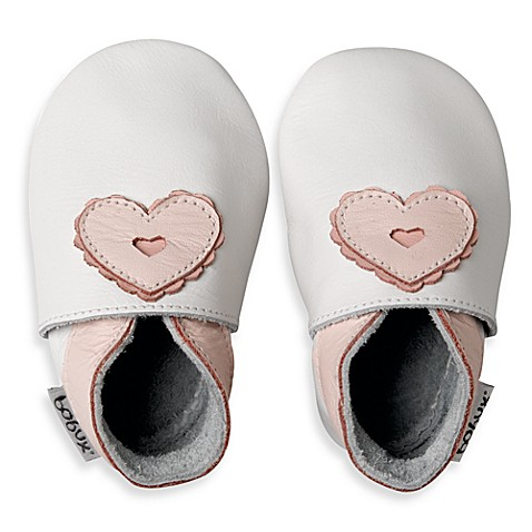 Bobux® White/Pink Heart Shoes - 3 - 9 Months