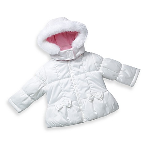 London Fog® White Bow Jacket with Hood