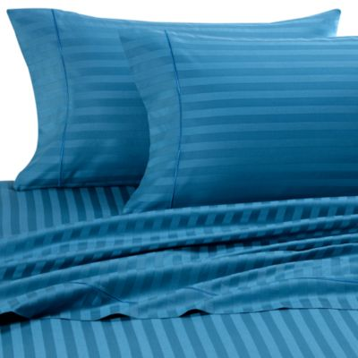 Wamsutta® 500 Damask Stripe Queen Sheet Set in Teal