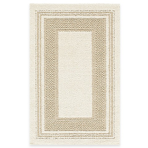 Double Border 1-Foot 8-Inch x 2-Foot 10-Inch Rug in Cream