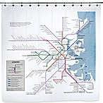 Boston Transit Map PEVA 72-Inch x 72-Inch Shower Curtain