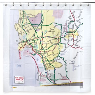 San Diego Map PEVA 72-Inch x 72-Inch Shower Curtain