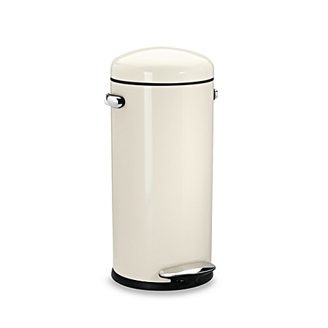 simplehuman® 30-Liter Cream Retro Step Trash Can