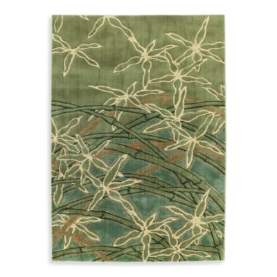 Shaw Impressions Collection Dancing Stems Rectangle Rugs in Sage