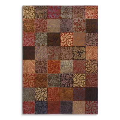 Shaw Inspired Collection Paisley Block Multicolor Rectangle Rugs